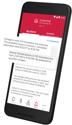 A list of alerts on the mobile app