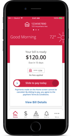 Slide to pay screens from the ComEd mobile app
