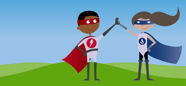dos superhéroes