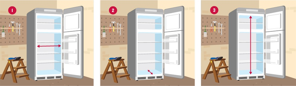 How to measure fridge inner dimensions